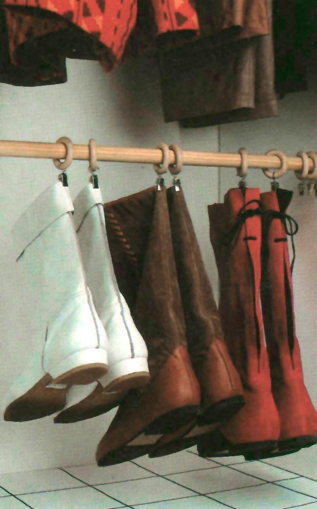 appendi stivali, riciclo palo tende, riporre stivali