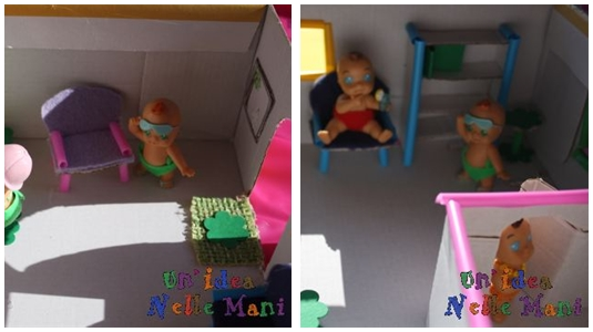 casa delle bambole riciclo scatola di cartone e cannucce