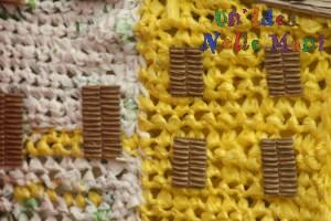 riciclo creativo, presepe uncinetto filo di plastica buste della spesa