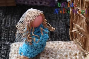 Riciclo creativo, presepe uncinetto filo buste di plastica