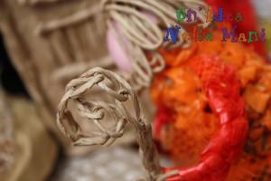 riciclo creativo, presepe uncinetto filo buste della spesa