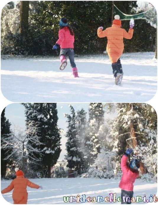 giochi per bambini sulla neve, addobi di carta