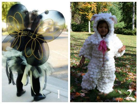 costumi carnevale, costumi fai da te, costume da farfalla, costume da agnellino, costume da pecora,