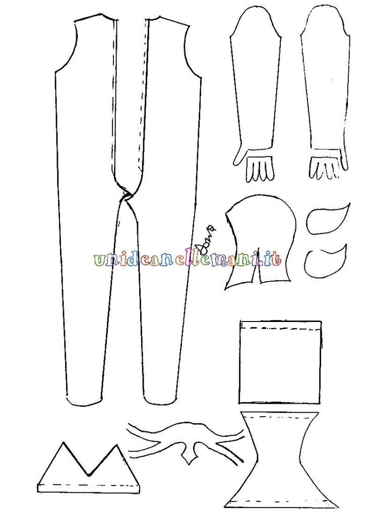 schema di taglio e cucito per costume da avatar