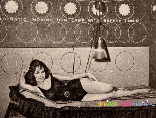 lampade abbronzanti, abbronzatura artificiale, foto anni 1960