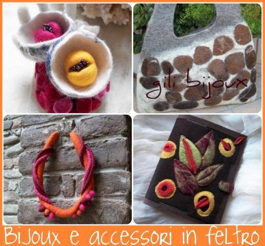 bijoux in feltro, lana cardata, accessori in feltro, borsa in feltro
