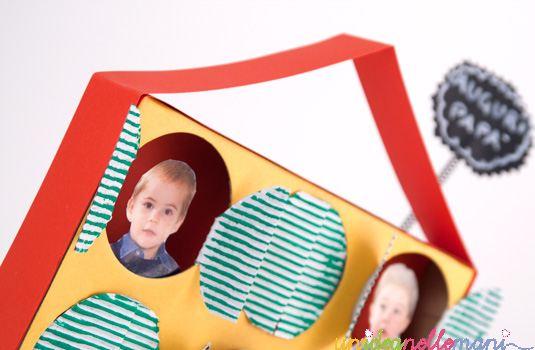 portafoto fai da te, festa del papà, lavoretti per bambini, riciclo cartone,