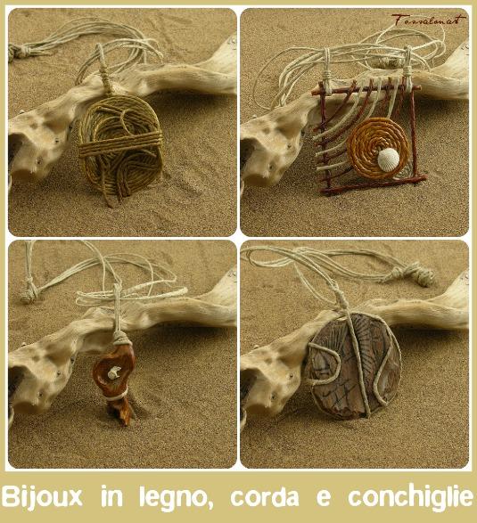 bijoux, collane, anelli, conchiglie, fatto a mano, corda, legno