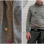 woolfiller, buchi maglioni, lana cardata, toppe