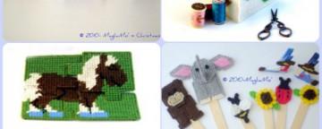 Giochi per bambini e idee regalo ricamati su Plastic Canvas:...