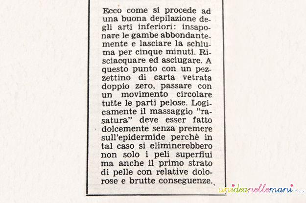 depilazione gambe, articolo anni 60, domenica del corriere, vintage