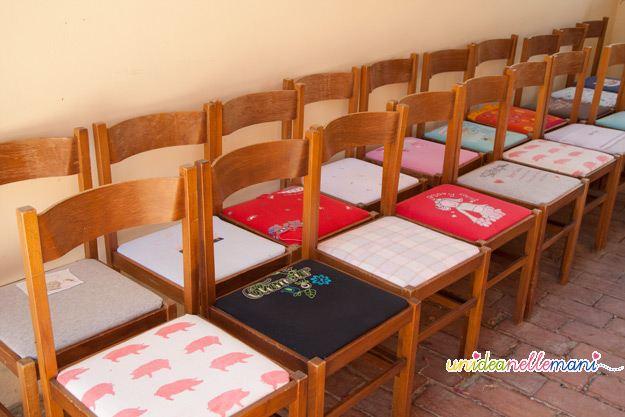 rivestire sedia, riciclo magliette, riciclo t-shirt, rivestimento, sedie