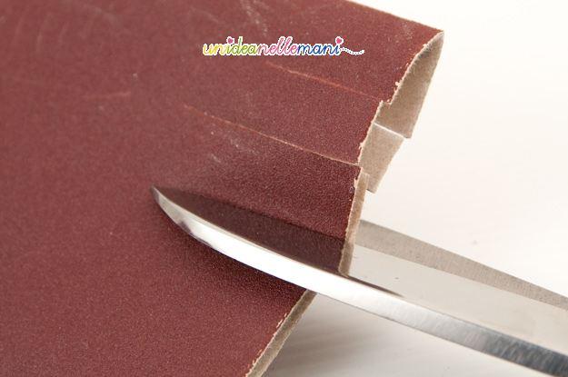 affilare le forbici, forbici, carta vetrata