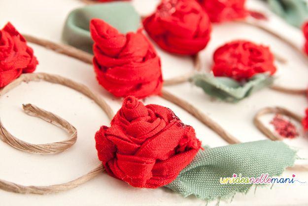 fiori di stoffa, rose all'uncinetto, decorare album, album fai da te