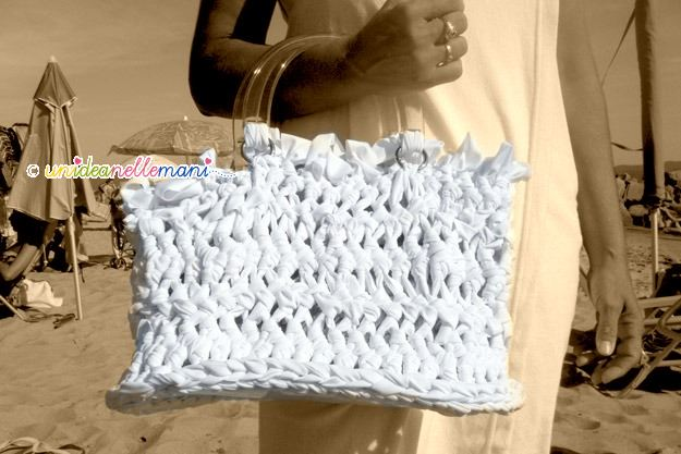borsa in fettuccia, borse fettuccia, borse all'uncinetto, bag crochet,