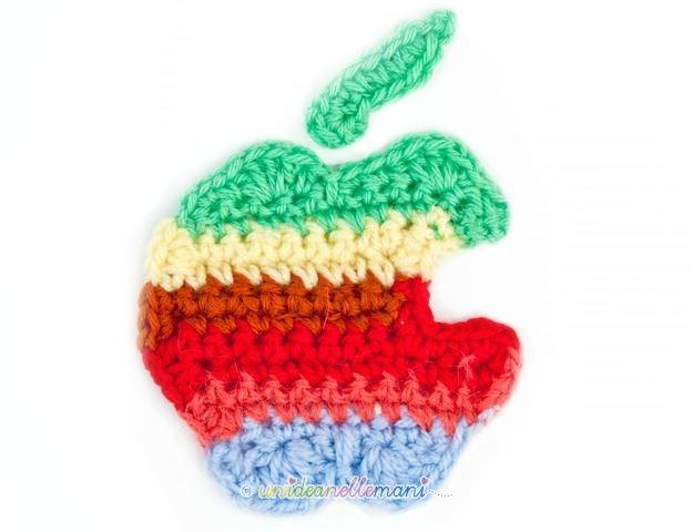 logo apple, logo apple colorato, logo apple crochet, logo apple uncinetto