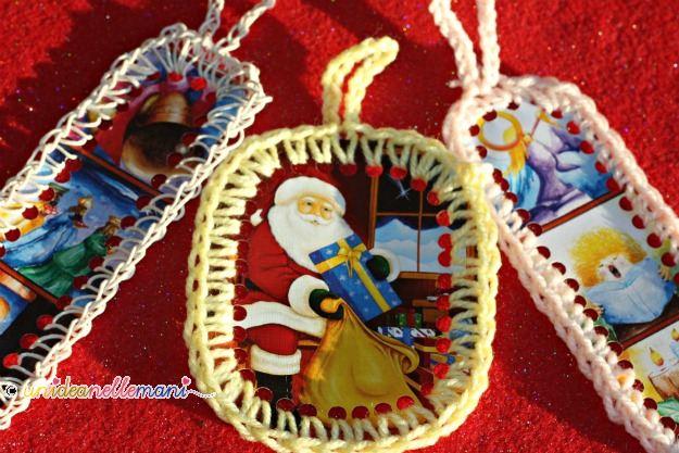 cartoline natalizie, addobbi fai da te, addobbi per l'albero di natale, addobbi con materiale riciclato, addobbi all'uncinetto