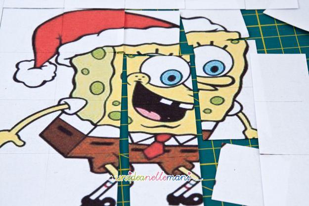 spongebob da ritagliare, puzzle per bambini, cubi di legno