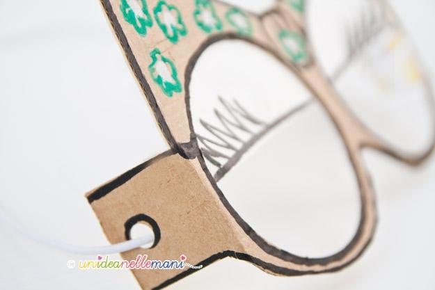 maschera da minni, occhiali finti, occhiali fai da te, elastico,