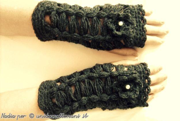 manicotti di lana, manicotto a maglia, manicotti, lavori al telaio stecca, lavori col telaio di maria gio,