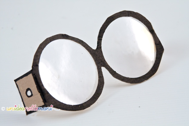 occhiali harry potter, occhiali fai da te, occhiali finti, occhiali di cartone, maschere carnevale,