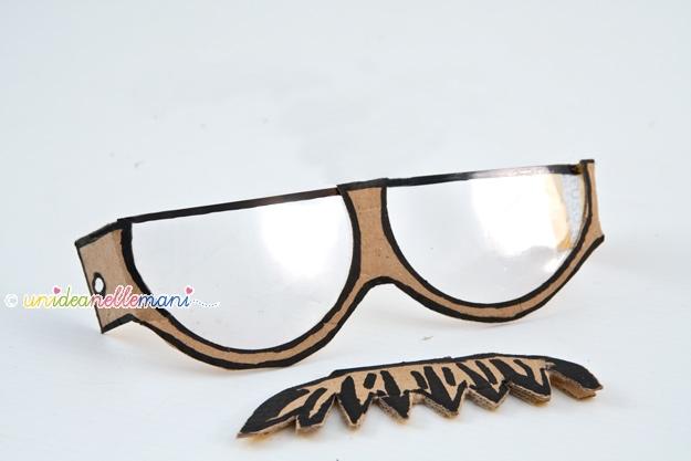 occhiali finti, occhiali con baffi, occhiali fai da te, occhiali di cartone, occhiali buffi, occhiali divertenti, maschera con baffi, maschere carnevale, maschera fai da te,