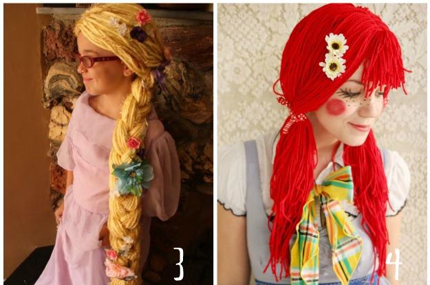parrucca raperonzolo, parrucca pagliaccio, parrucca di lana, parrucche carnevale, parrucche fai da te, wigs with wool,