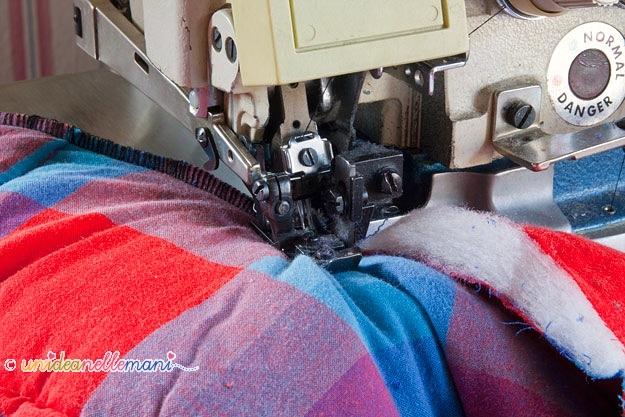 riciclo coperte, cucitura taglia e cuci, tagliaecuci, cucire coperta, cucire piumone,