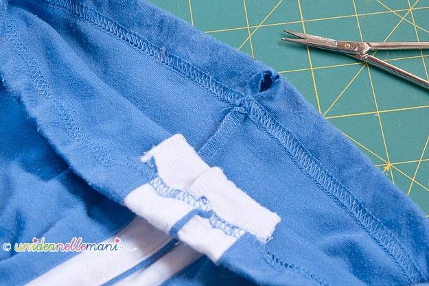 orlo pantaloni, accorciare pantaloni, accorciare tuta, cucire pantaloni, orlo cucito,