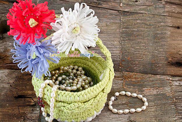 cestini uncinetto, portagioie uncinetto, cestino fatto a mano, portagioie, cestino di fiori, portaoggetti per bagno,