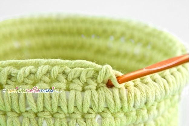 punto gambero uncinetto, punto gambero, cestino all'uncinetto, portagioie uncinetto, crochet basket,