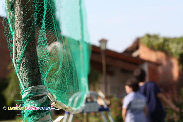 rete da pallavolo, rete pallavolo fai da te, costruire rete pallavolo, rete plastica, cucire rete,