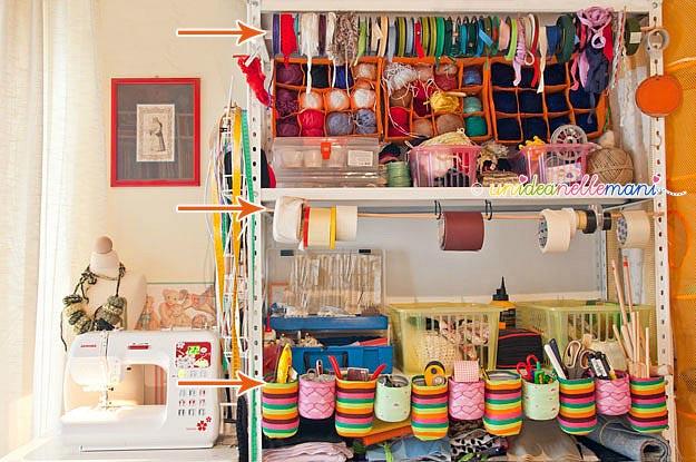 craft room, craft organizer, scaffalatura,