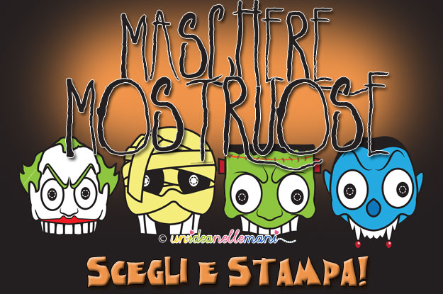 maschere da stampare, maschere da colorare, maschere mostri, maschere halloween, maschere carnevale,
