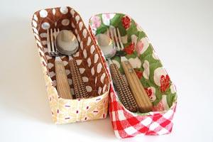 cestini di stoffa, portaposate, cestini portaoggetti,