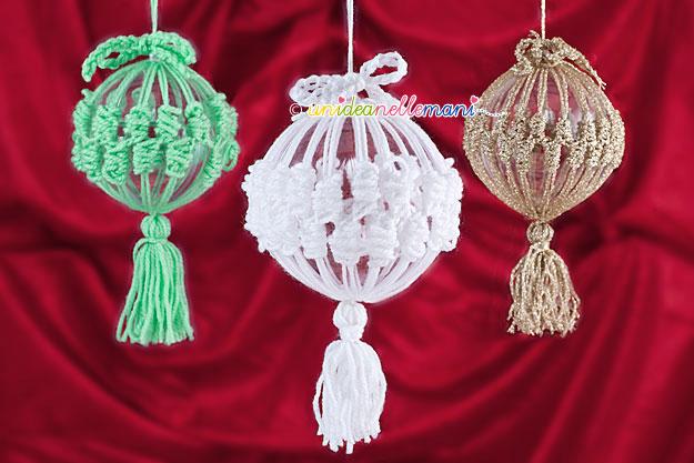 decorazioni di natale, decorazioni natale fai da te, palle di natale originali, palline di natale fai da te, addobbi natalizi, palline natale uncinetto,