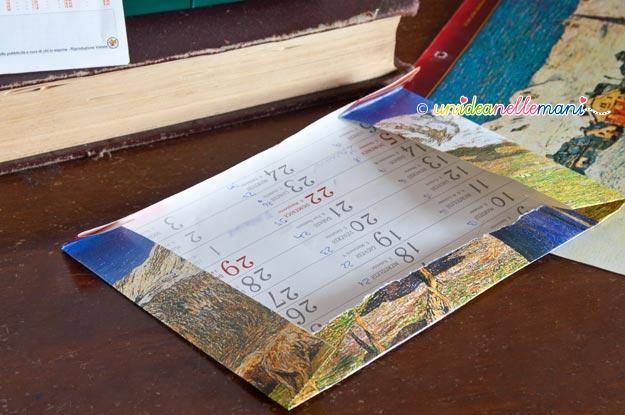 riciclo calendario, immagini calendario, riciclo carta, lavoretti carta, biste di carta