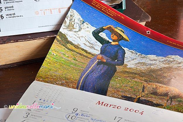 riciclo calendario, immagini calendario, riciclo carta, lavoretti carta,