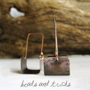 orecchini fatti a mano, orecchini in rame, orecchini artigianali,