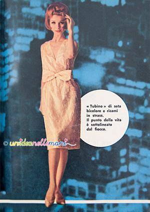 abiti anni 60, moda anni 60, abiti vintage, vestiti da sera, vestiti capodanno, abiti da ballo, abito dorato, abito con fiocco,