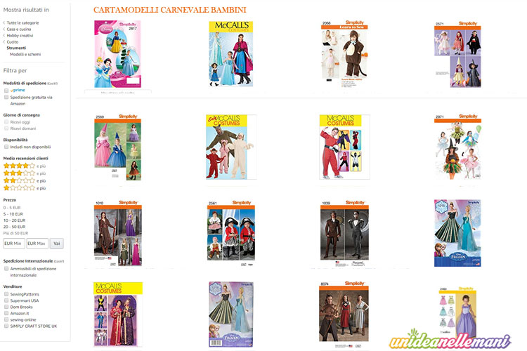 4c2f9c962183 Cartamodelli per Costumi di Carnevale  dove trovarli On Line