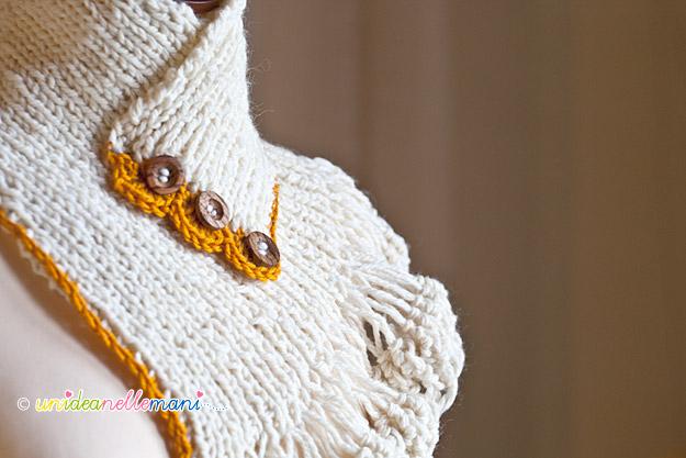 scaldacollo a maglia, scaldacollo ai ferri, scaldacollo uncinetto, scaldacollo di lana, modello scaldacollo, scaldacollo con bottoni