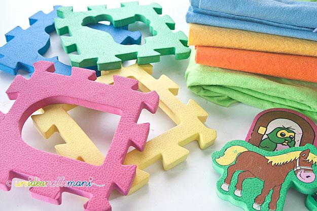 riciclare giochi bambini, piastrelle puzzle gomma,