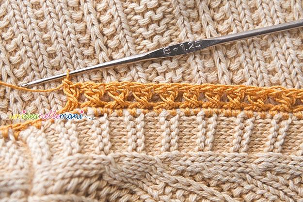bordi all'uncinetto, bordure all'uncinetto, bordi ad uncinetto per rifinire una maglia, bordi uncinetto schemi, maglia con bordi ad uncinetto
