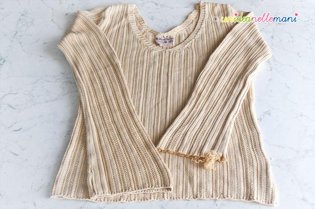 rinnovare una maglia, decorare una maglia, bordature ad uncinetto,