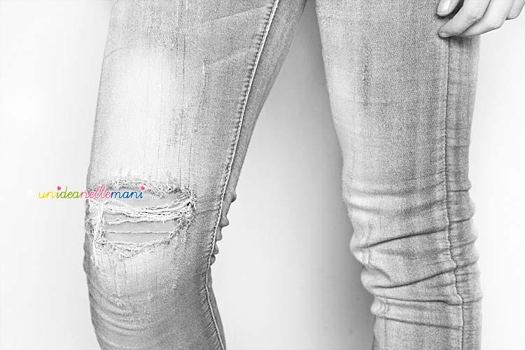 jeans strappati, toppe jeans fai da te, jeans decorati,