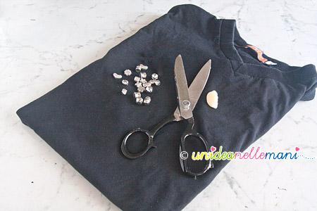 trasformare maglietta, riciclo t-shirt, decorare maglietta,