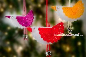 decorazioni natale, decorazioni fai da te, addobbi di feltro, uccellini di feltro,