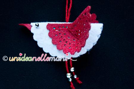 decorazioni fai da te natale, uccellino di feltro, addobbi fai da te natale, decorazioni di feltro,