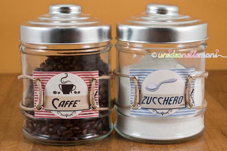 etichette barattoli di zucchero e caffè